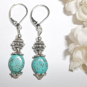 Southwestern Turquoise Blue Earrings Drop Set 4313